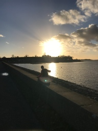 The sun setting on Draycote Waters