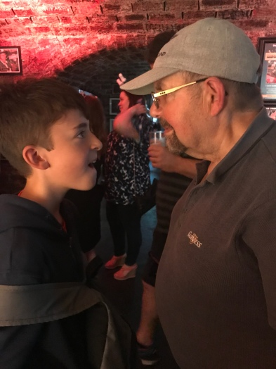Grandpa and F head to head in a blinking game