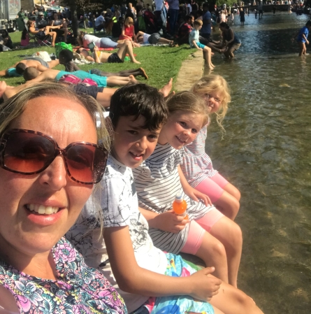 Keeping cool in the river at Bourton-On-The-Water